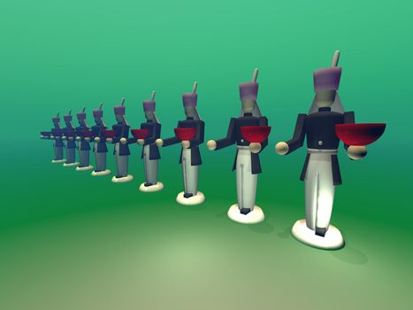 Toy soldiers stand at attention for the Christmas season.