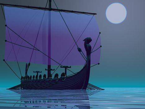 A Viking ship sets out on one of their journeys across the Atlantic Ocean.