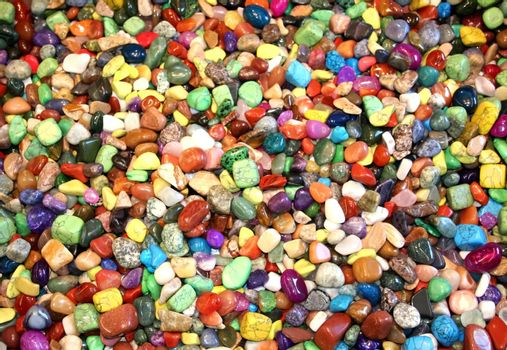 colourful and shiny assorted stones in a park
