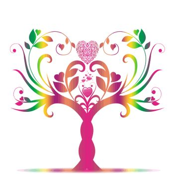 Beautiful valentine tree with hearts pattern on white background