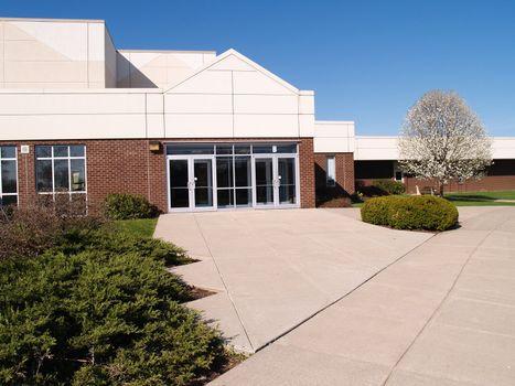 doors and exterior of a modern school