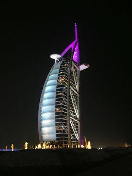 Burj al Arab in Dubai,illuminated at night