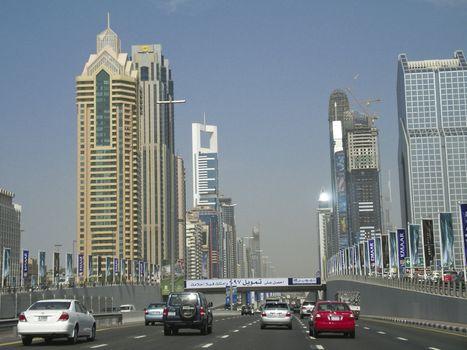 Traffic and buidings in Dubai - Urban landscape