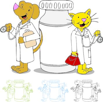 An image of cat and dog doctors next to a bottle of medicine.