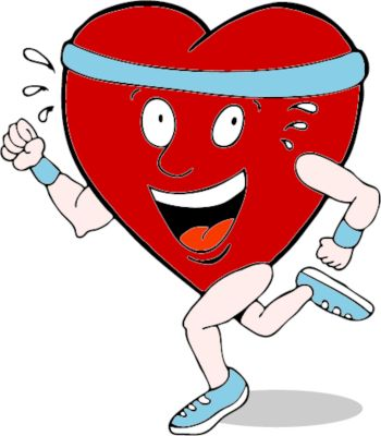 An image of a healthy heart shaped character running.