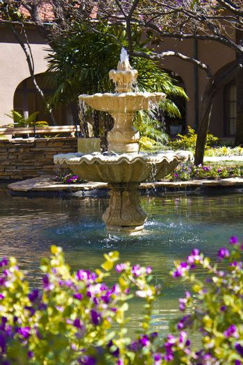 An image of a courtyard fountain and flowers.