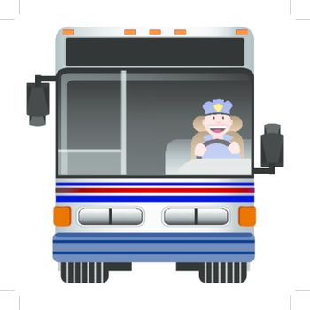 An image of the front view of a bus with driver.