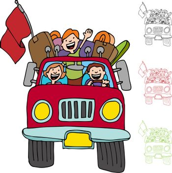 An image of a family riding in a pickup truck with luggage and boxes.