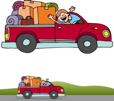An image of a people riding in a pickup truck with luggage and boxes.