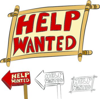An image of a set of help wanted signs.