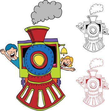 An image of children riding on a train.