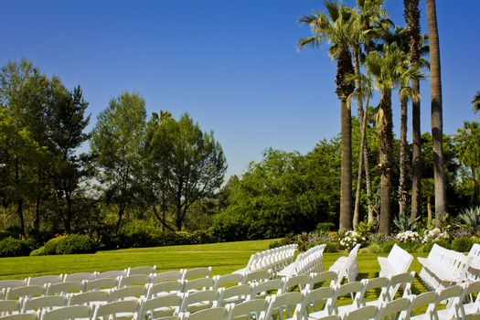 An image of a rows of white wedding chairs in on an open field of grass.