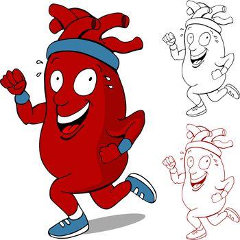 An image of a healthy heart running cartoon character.