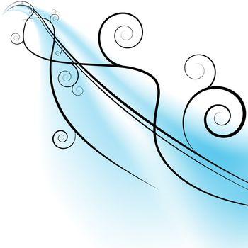 An image of a flowing swirls on a blue streak.