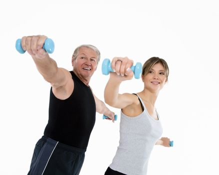 senior man and young woman exercising in gym. White background
