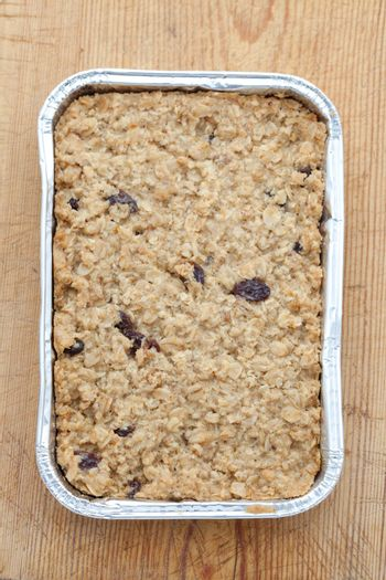 Flapjack in a silver baking tray