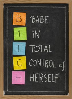 bitch - humorous acronym on blackboard