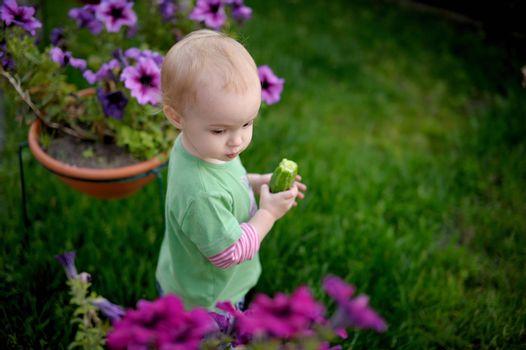 Little baby in the yard having some cucumber