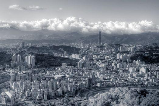 City scenes of skyscraper and apartments in Taipei