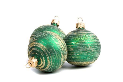 three green christmas balls