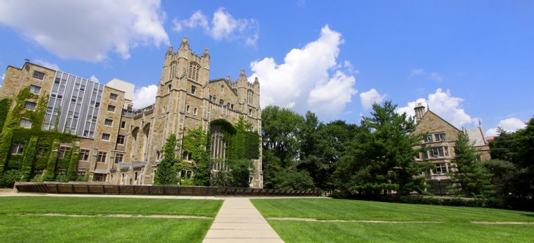 Panoramic view of University of Michigan law campus