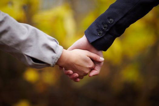 Romance - Couple holding hands in fall