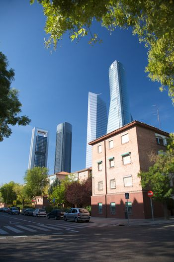 town and skyscrapers