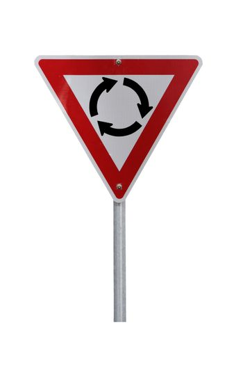 Isolated Roundabout Warning Sign - Current Australian Road Sign