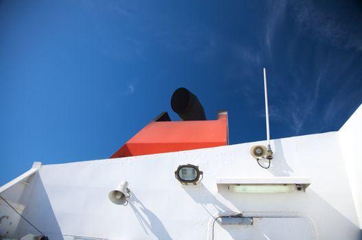 boat with black chimney