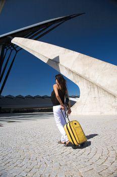 white jeans woman traveller