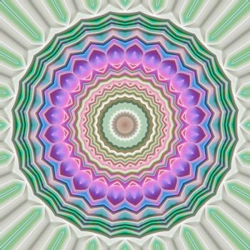 flower like mandala symbol in soft pink and green colors
