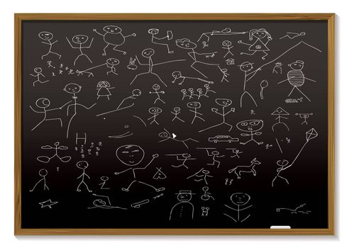school black board with childish chalk drawing of people