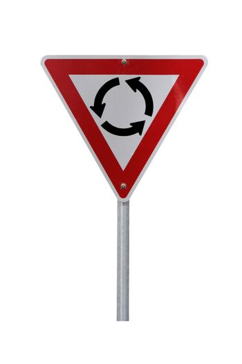 Isolated Roundabout Warning Sign for right-hand traffic