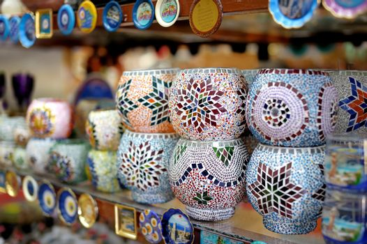 Shop stands with Turkish souvenirs