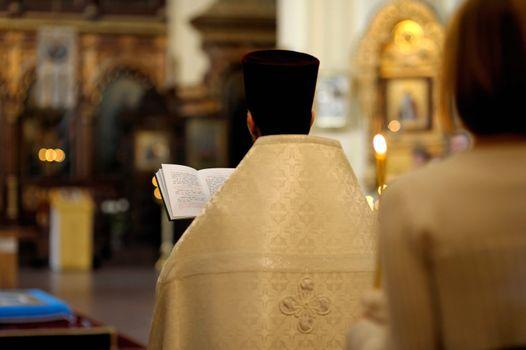 Orthodox priest during wedding ceremony