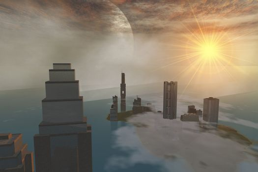 A fantasy science fiction world on another planet.