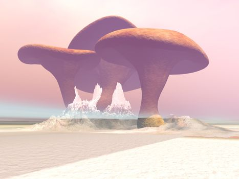 Huge mushrooms grow in this misty fantasy world of giant plants.