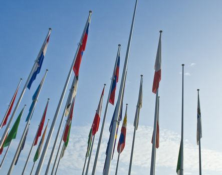 Flags of different nations to a fair