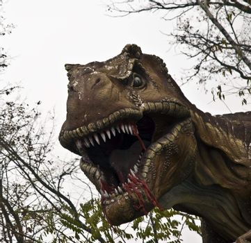 Dinosaur in Jurassic park on Lake Maggiore