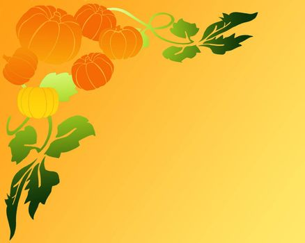 background of stylized leaves and pumpkins