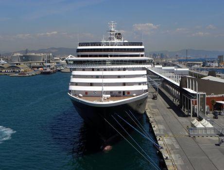 Cruise ship in port in Barcelona
