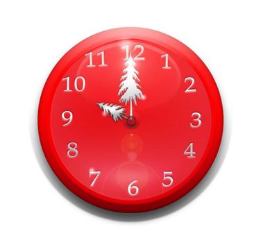 Red clock with hands shaped like a tree