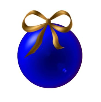 Blue Christmas ball with ribbon golden