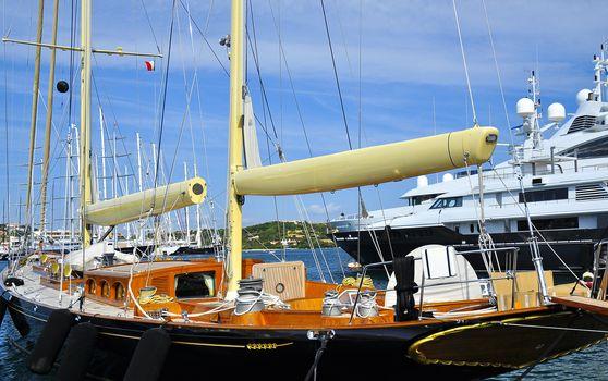 Details of a sailboat in Porto Cervo