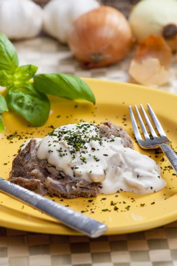 beefsteak with champignon and pepper sauce