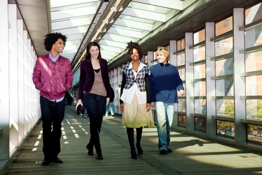 A group of friends walking in an urban setting