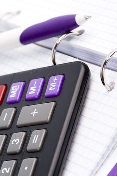 organizer, pen and calculator