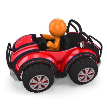 3D Orange Man In Dune Buggy;