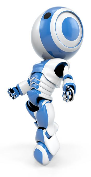 Blue Robot Drifting up Side View