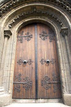 ancient decorate wood door
